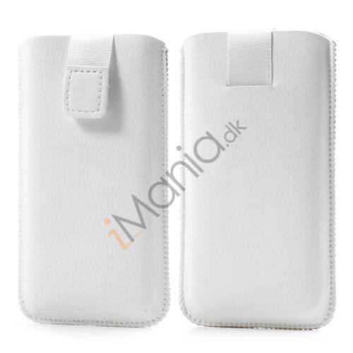 Image of   PU Læder-sleeve med trækstrop og velcrolås til iPhone 5 5S og 5C, hvid