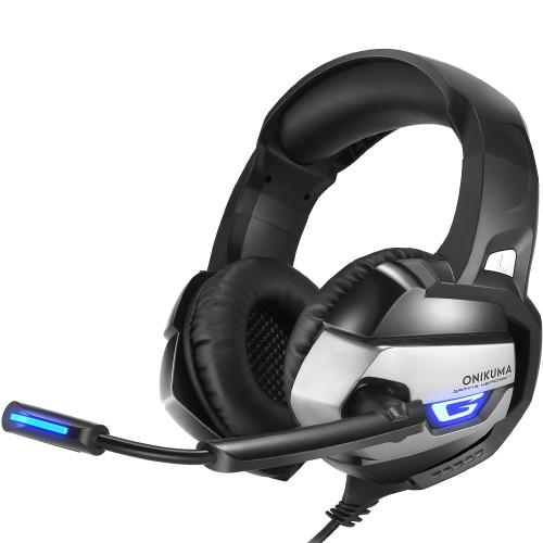 Image of   Gaming-headset ONIKUMA K5 3.5mm Deep Bass Gaming Headset USB LED Headphone med mikrofon til fx PS4/XBOX One/Laptop/PC - Black