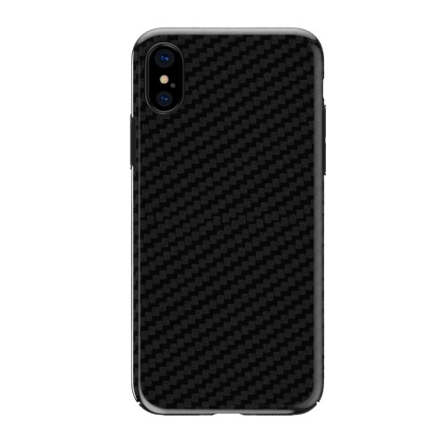 Totu kulfibermønstret TPU-cover til iPhone X, sort