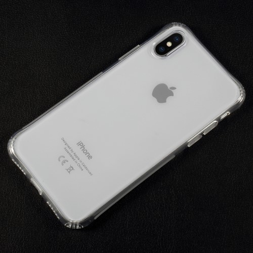 Gennemsigtigt stødabsorberende iPhone X cover