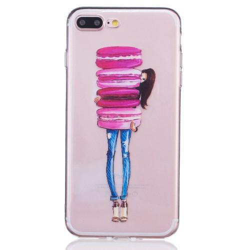 iPhone 7+/8+ TPU cover - Pige med makroner