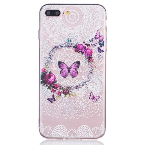 iPhone 7+/8+ TPU cover - Sommerfugl i blomsterkrans