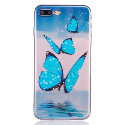 iPhone 7+/8+ TPU cover - Blå sommerfugle