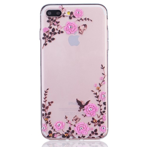 iPhone 7+/8+ TPU cover - Blomster og sommerfugle