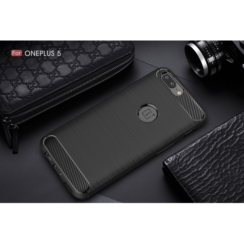 Kulfibermønster TPU-cover til OnePlus 5, sort