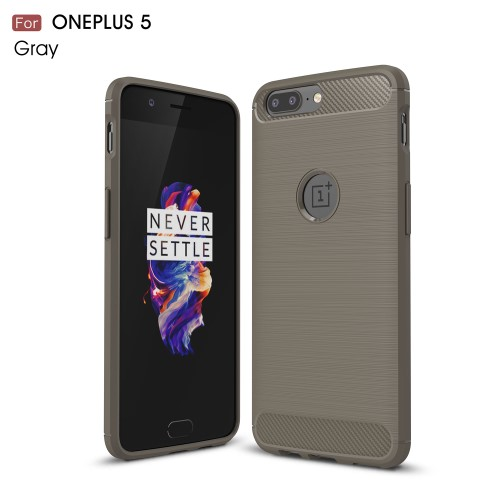 Kulfibermønster TPU-cover til OnePlus 5, grå