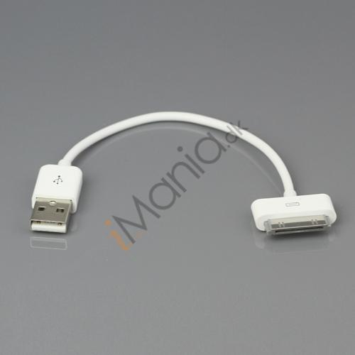 Kort iPhone USB kabel, 12 cm, hvid