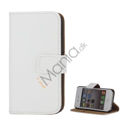 Billede af iPhone 4 læderetui med vandret åbning, lås og kreditkortholder - Hvid