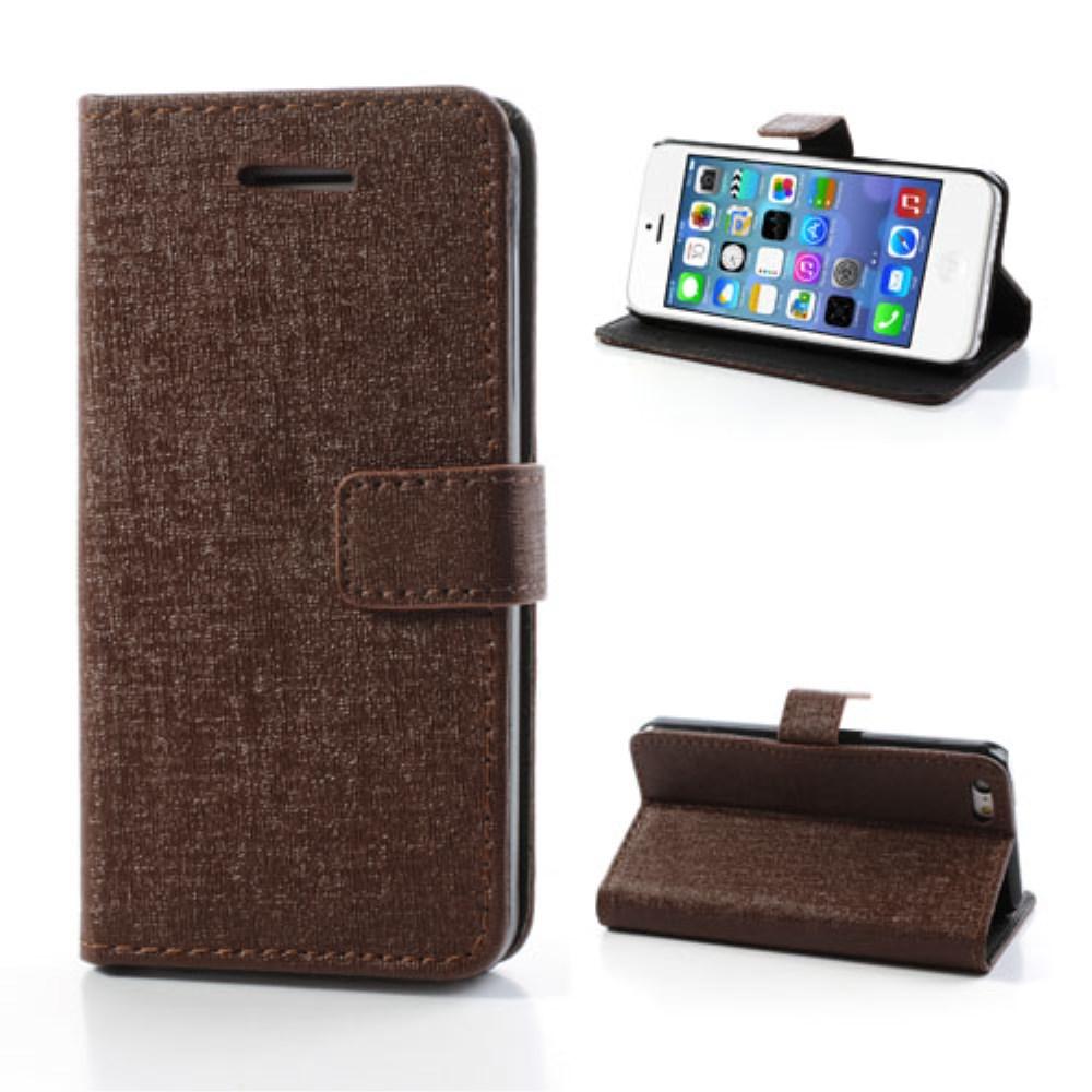 Image of   Mønstret PU-læder etui til iPhone 5C, brun