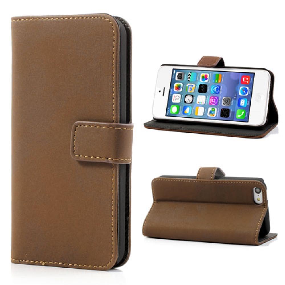Image of   iPhone 5C etui med kreditkortholder, brun