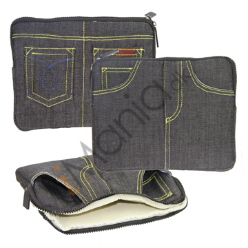 Image of   Jeans Style Soft Etui til Apple iPad 2. / ipad 3 Generation med lynlås Design