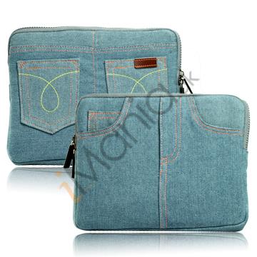 Image of   Blå Jeans Style Soft Etui med lynlås Design til iPad / iPad 2/ipad 3