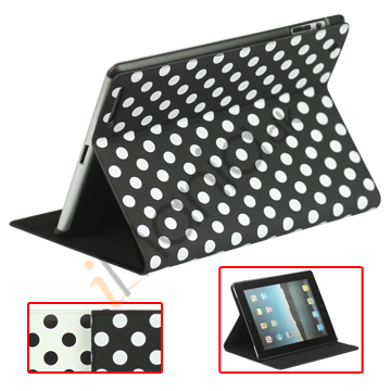 Magnetisk Wake / Sleep Kunstlæder Smart taske til Den Nye iPad 3:e 2:e 4th Gen med Polka Dot Mønster, Flere farver