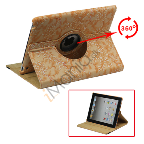 Image of   360 Grader Roterbar Blomster Præget Stand Case Kunstlæder til Den Nye iPad 2 3 4 - Orange