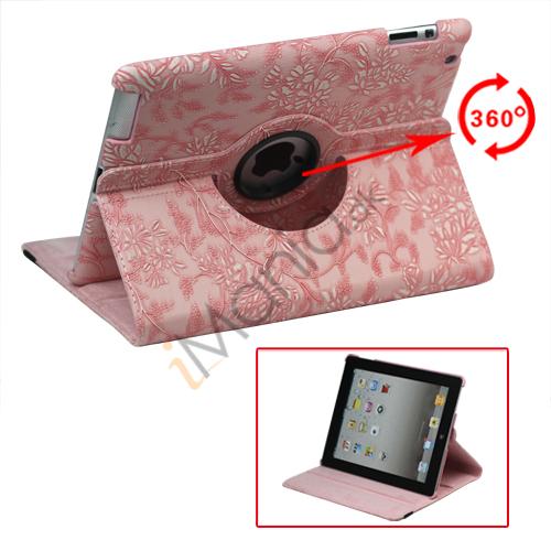Image of   360 Grader Roterbar Blomster Præget Stand Case Kunstlæder til Den Nye iPad 2 3 4 - Pink
