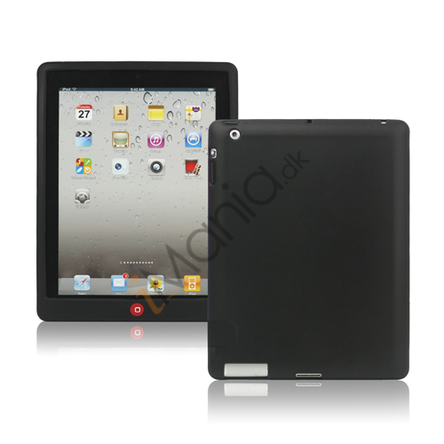 Image of   Ny iPad 2. 3. 4. Gen Silikone Case Skin Cover med Home Button - Sort