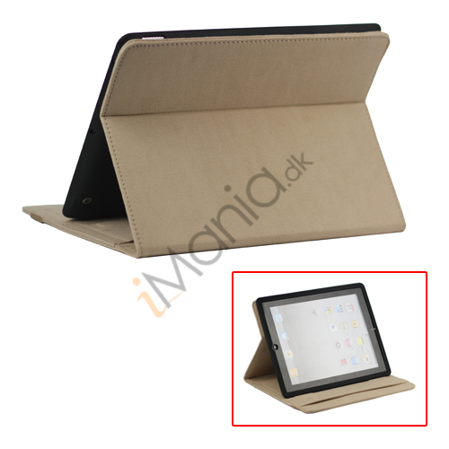 Image of   Stilet Microfiber Case Cover med stativ til Den Nye iPad 2 3 4 - Light Brown