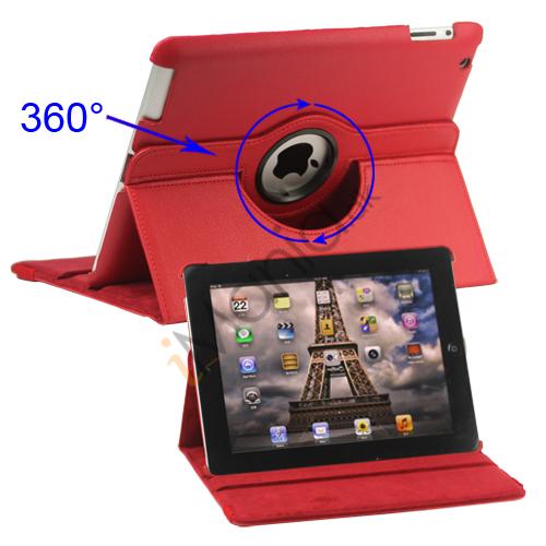 Image of   360 graders roterende Ny iPad 2 3 4 Kunstlæderetui Cover med Stand - Rød