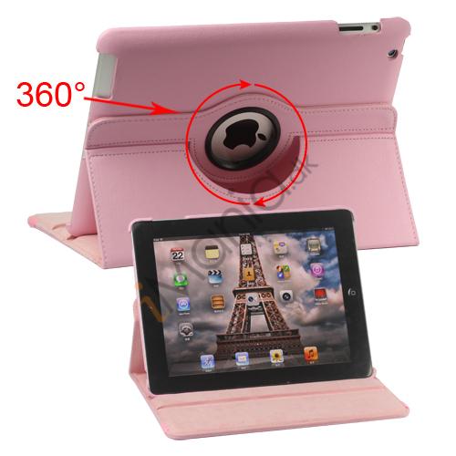 Image of   360 graders roterende Ny iPad 2 3 4 Kunstlæderetui Cover med Stand - Pink