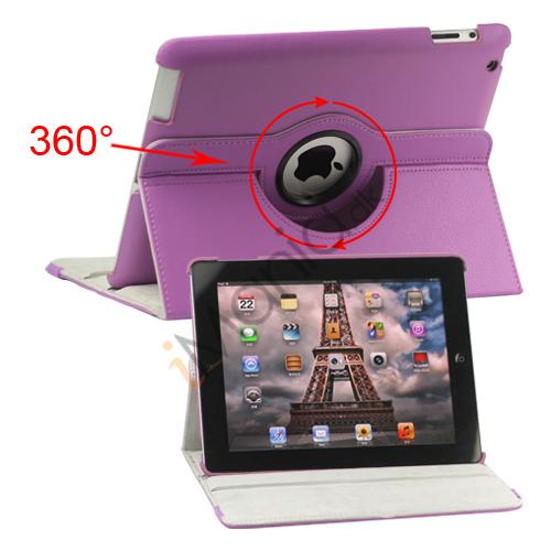 Image of   360 graders roterende Ny iPad 2 3 4 Kunstlæderetui Cover med Stand - Lilla