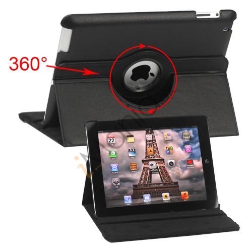 Image of   360 graders roterende Ny iPad 2 3 4 Kunstlæderetui Cover med Stand - Sort