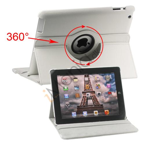 Image of   360 graders roterende Ny iPad 2 3 4 Kunstlæderetui Cover med Stand - Hvid