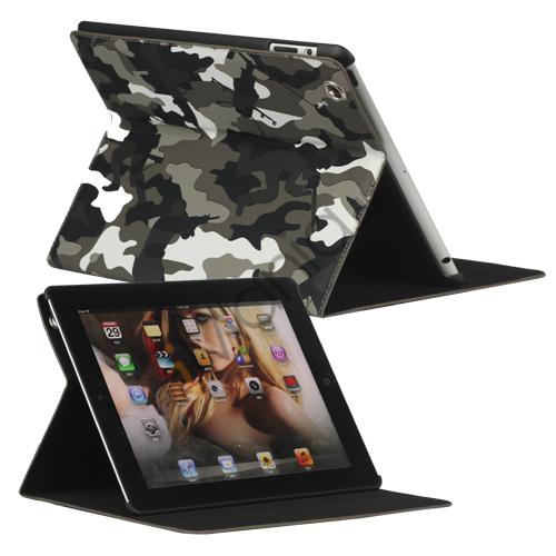 Image of   Camouflage Magnetisk Kunstlæder Smart Cover Stand til Den Nye iPad 2 3 4 - Grå