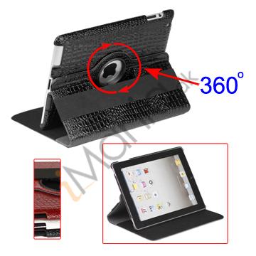 Image of   360 Grader Roterbar Krokodille Skin Kunstlæder Stand Case til Den Nye iPad 2 3 4, Flere farver