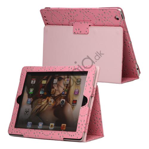 Image of   Glitrende Flora Kunstlæder Stand Case til Den Nye iPad 2 3 4 - Pink