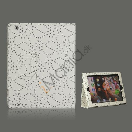 Glitrende Flora Kunstlæder taske med holder til iPad 2 den nye iPad / iPad 4 - Hvid