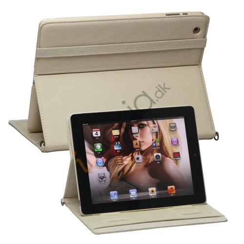 Billede af Stilfuld Jeans Kunstlæder Smart Cover Stand håndtaske til Den Nye iPad 3. 4. 2nd Gen - Beige