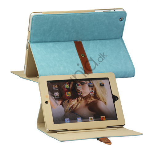 Billede af Stilet Stand Kunstlædertaske med bælte og Spænde til den nye iPad 3rd gen - Blå