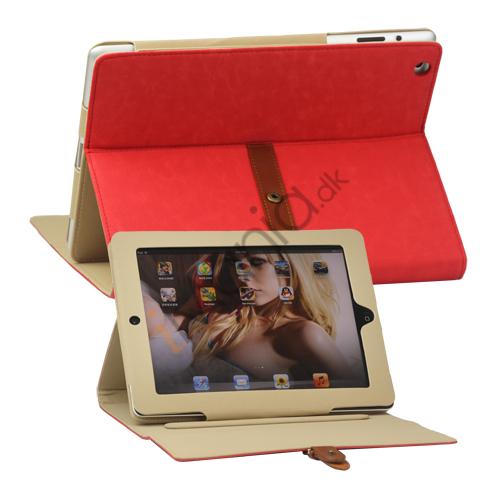 Billede af Stilet Kunstlæder Stand Case med bælte og Spænde til iPad 4. 3. 2nd Gen - Rød