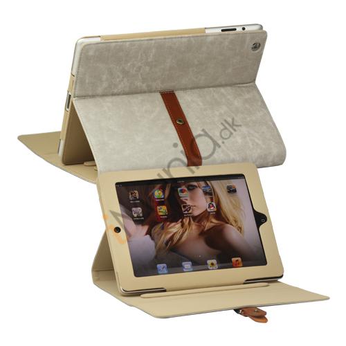 Billede af Stilet Kunstlæder Stand Case med bælte og Spænde til iPad 4. 3. 2nd Gen - Grå