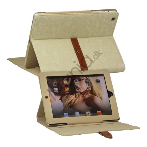 Billede af Stilet Kunstlæder Stand Case med bælte og Spænde til iPad 4. 3. 2nd Gen - Beige