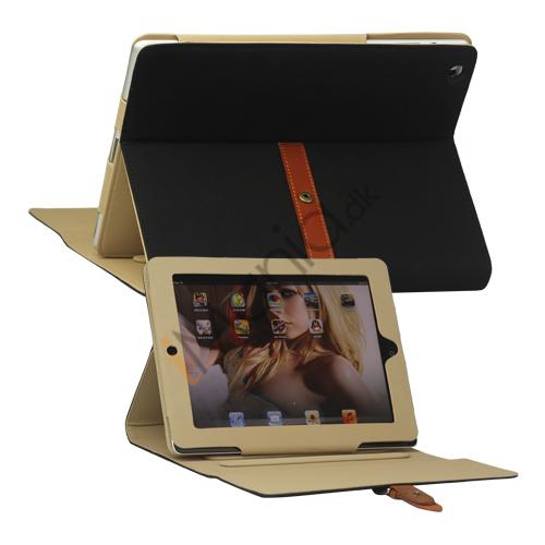 Billede af Stilet Kunstlæder Stand Case med bælte og Spænde til iPad 4. 3. 2nd Gen - Sort