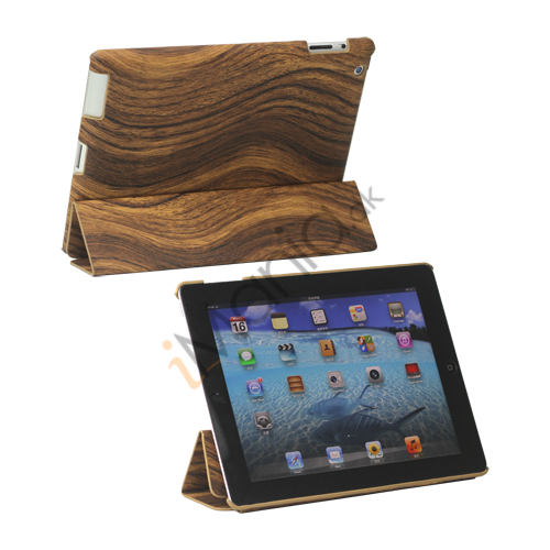 Billede af Folding Træ Grain Leather Stand Smart Cover til iPad 2 3 4