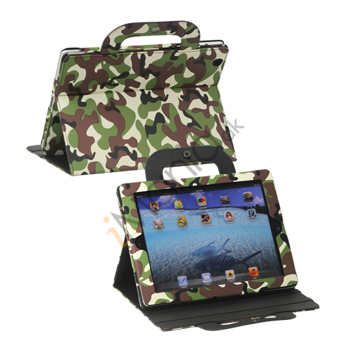 Image of   Camouflage Magnetisk Canvas Handbag Taske til iPad 4. 3. 2. generation
