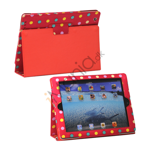 Image of   Farvelagt Polka Dot Canvas Smart Cover Holder til iPad 4. 3. 2nd Gen - Rød