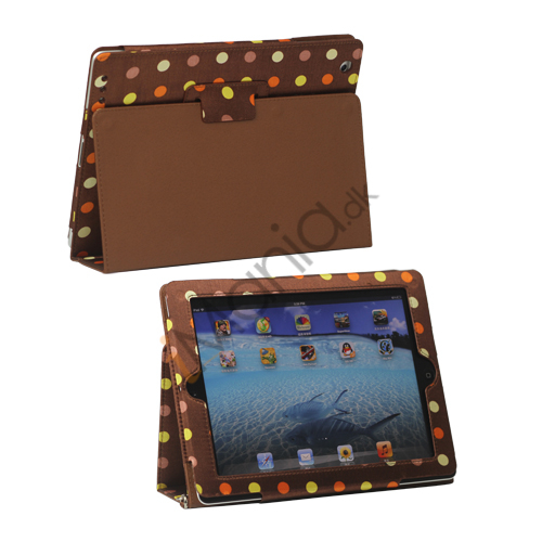 Farvelagt Polka Dot Canvas Smart Cover Holder til iPad 4. 3. 2nd Gen - Brun