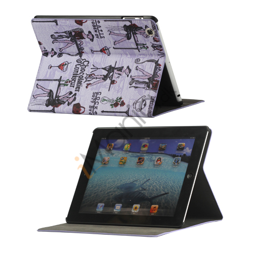 Image of   Fashion Lady PU Kunstlæder Stand Case Smart Cover til iPad 2 3 4 - Lilla