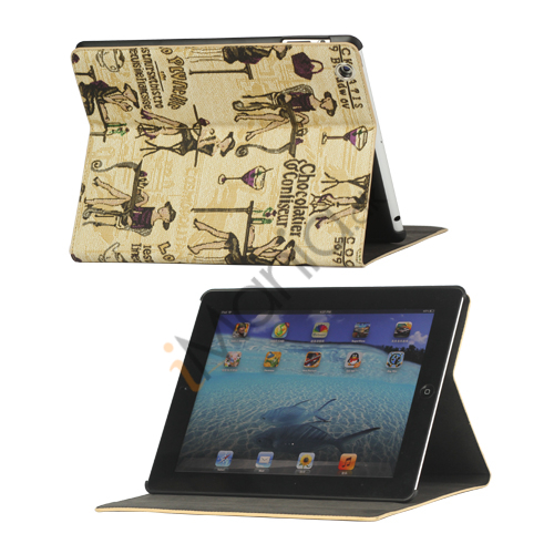 Image of   Fashion Lady PU Kunstlæder Stand Case Smart Cover til iPad 2 3 4 - Brun