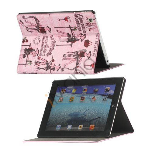 Image of   Fashion Lady PU Kunstlæder Stand Case Smart Cover til iPad 2 3 4 - Pink