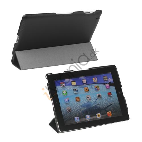 Premium Kunstlæder Smart Cover til iPad 4. 3. 2nd Gen - Sort
