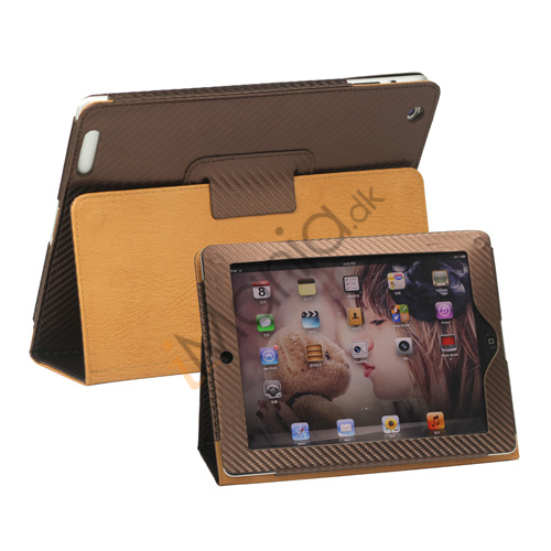 Image of   Carbon Fiber Kunstlæder Smart Cover med holder til iPad 4. 3. 2nd Generation - Brun