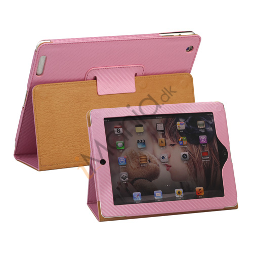 Image of   Carbon Fiber Kunstlæder Smart Cover med holder til iPad 4. 3. 2nd Generation - Pink