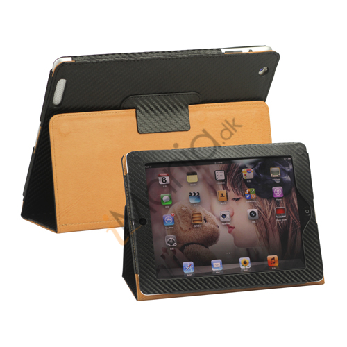 Carbon Fiber Kunstlæder Smart Cover med holder til iPad 4. 3. 2. generation - Sort