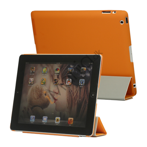 Slim Kunstlæder Smart Cover med holder til iPad 2. 3. 4. Gen - Orange