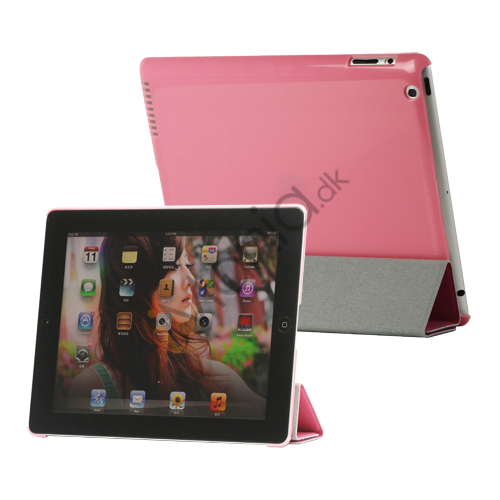 Image of   Folio Magnetisk PU Kunstlæder Taske Smart Cover til iPad 4. 3. 2nd Generation - Pink