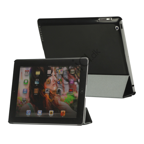 Image of   Folio Magnetisk PU Kunstlæder Taske Smart Cover til iPad 4. 3. 2. generation - Sort